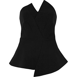 Black asymmetric peplum bandeau top