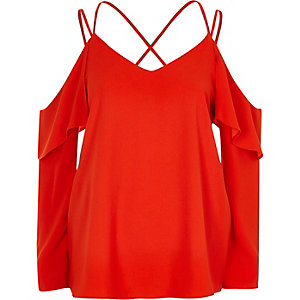 Red cold shoulder cross neck blouse