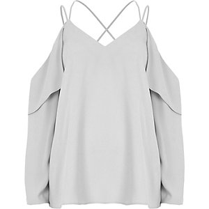 Grey cold shoulder cross neck blouse