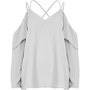 Grijze schouderloze blouse met gekruiste bandjes