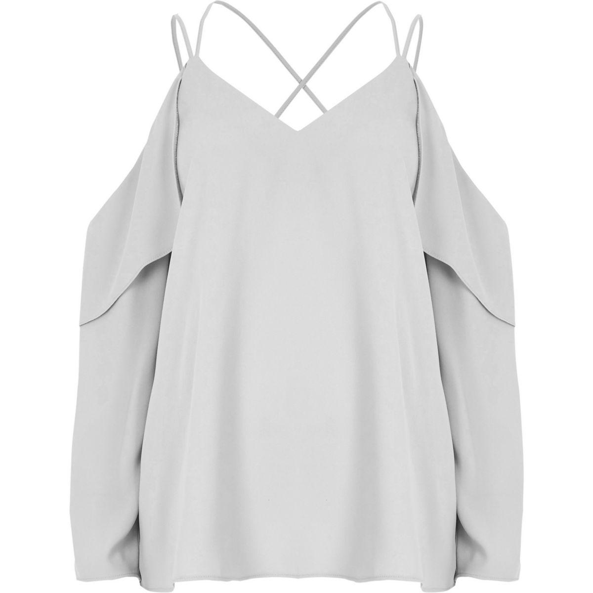 Graue Bluse mit Schulterausschnitten