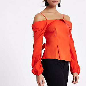 Red cold shoulder bow back top