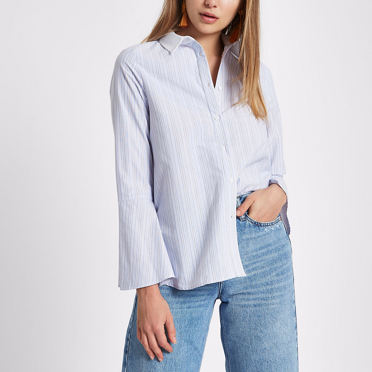 Blue stripe print frill back shirt