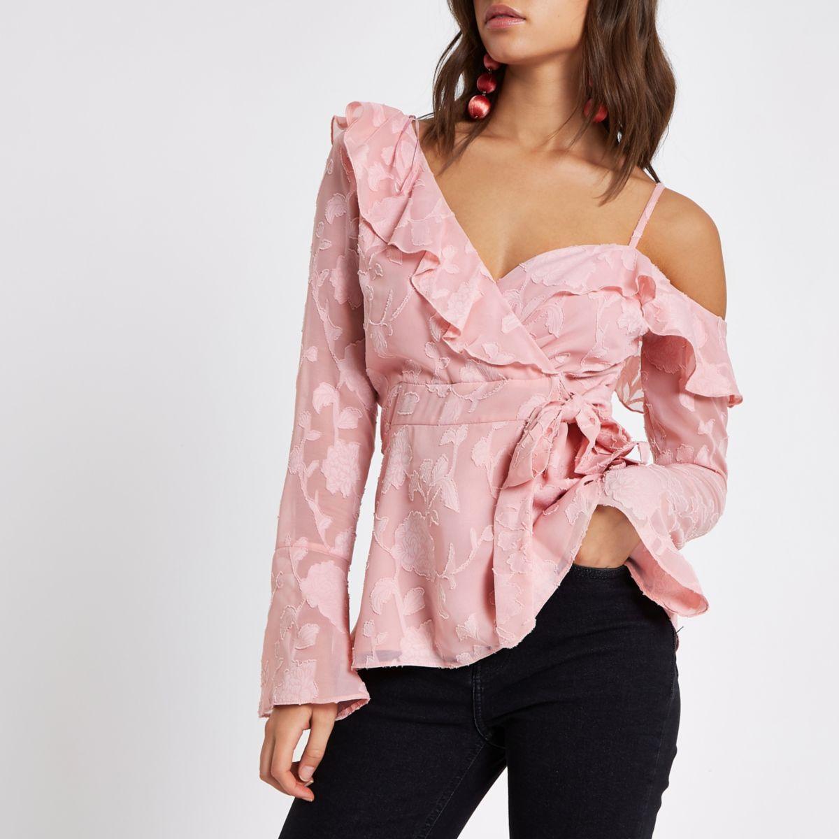 Pink jacquard cold shoulder wrap front blouse