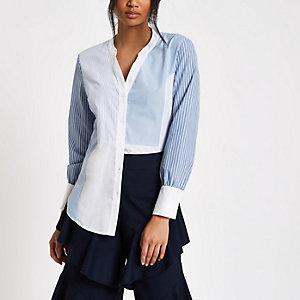 Blaues, langärmeliges Hemd mit verschiedenen Streifenmustern