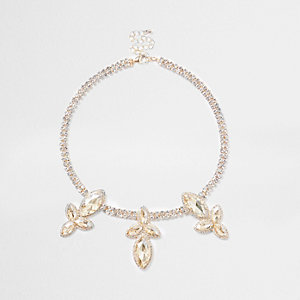 Gold tone diamante leaf jewel necklace