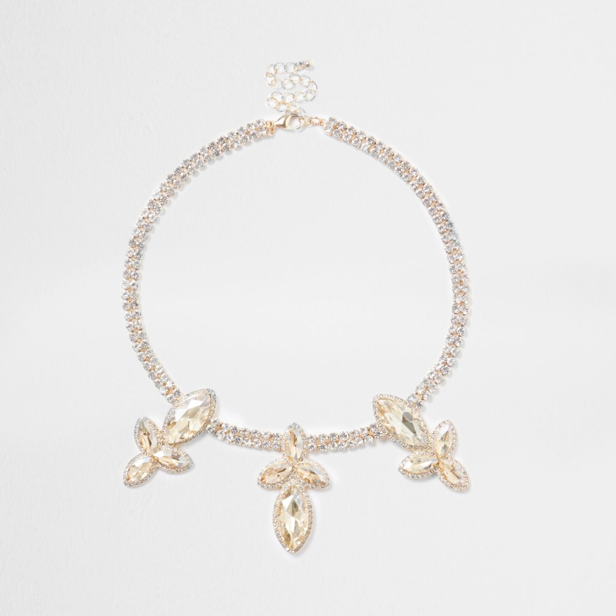 Gold tone rhinestone leaf jewel necklace