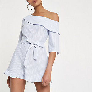 Blue stripe frill one shoulder playsuit