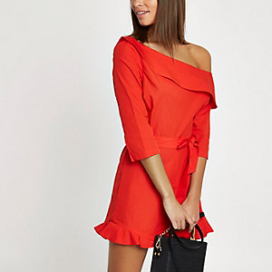 Orange frill hem one shoulder playsuit