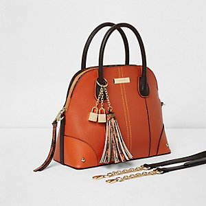 Orange snakeskin trim tassel tote bag