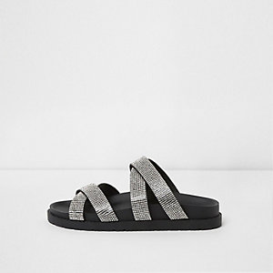 Black wide fit diamante cross strap sliders