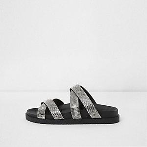 Black wide fit rhinestone cross strap sliders