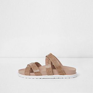 Gold wide fit diamante cross strap sliders