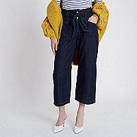 Jupe-culotte en jean bleu foncé nouée à la taille