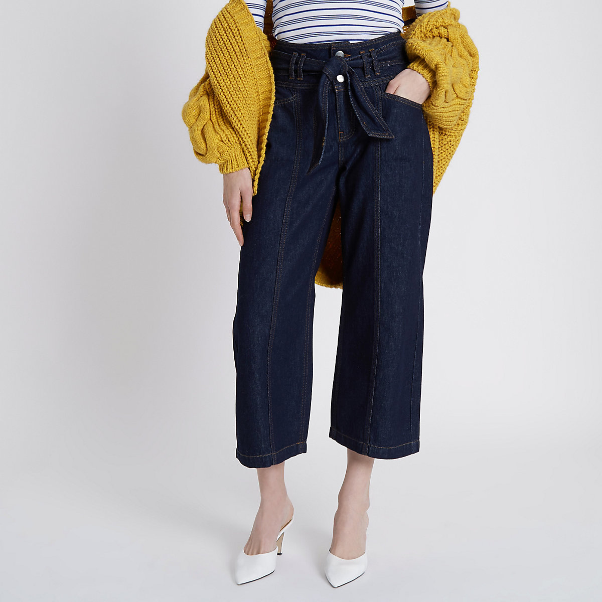 Dark blue tie waist denim culottes