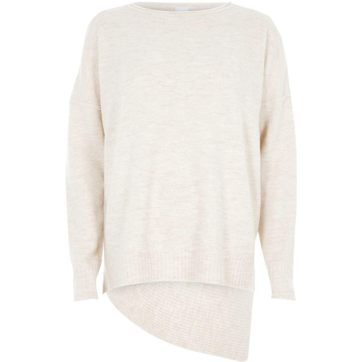 Asymmetrischer Pullover in Beige