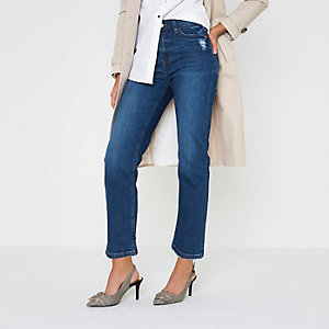 Mid blue Bella distressed straight leg jeans