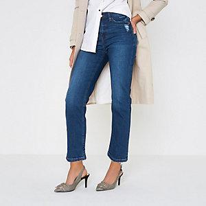 Bella - Middenblauwe distressed jeans met rechte pijpen