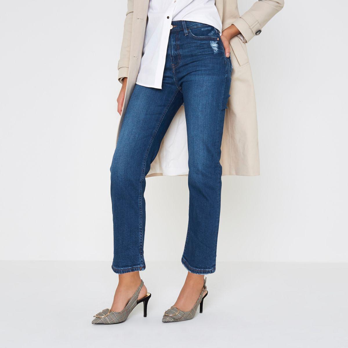 Mid blue Bella distressed straight leg jeans