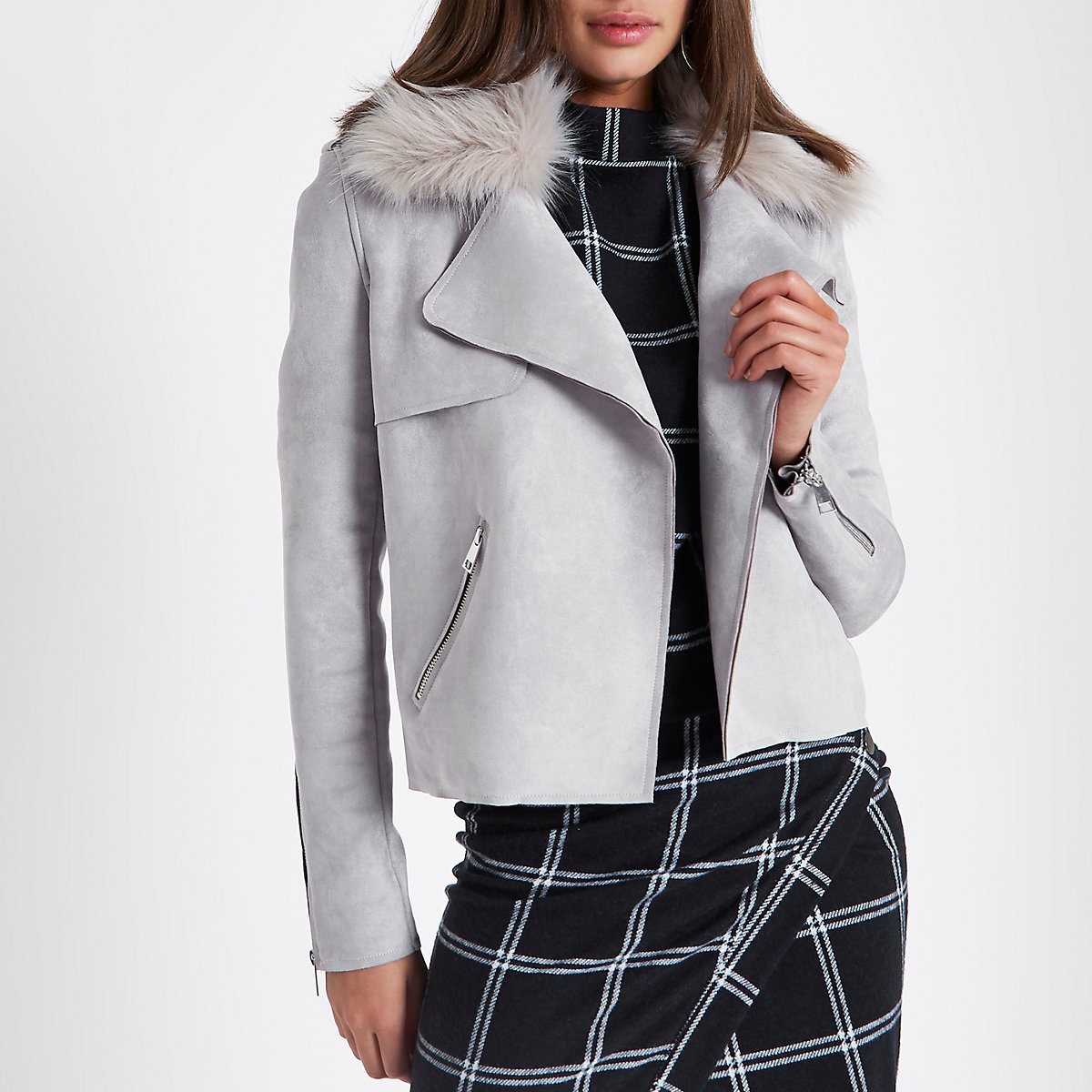 Grey faux fur collar suede trench jacket