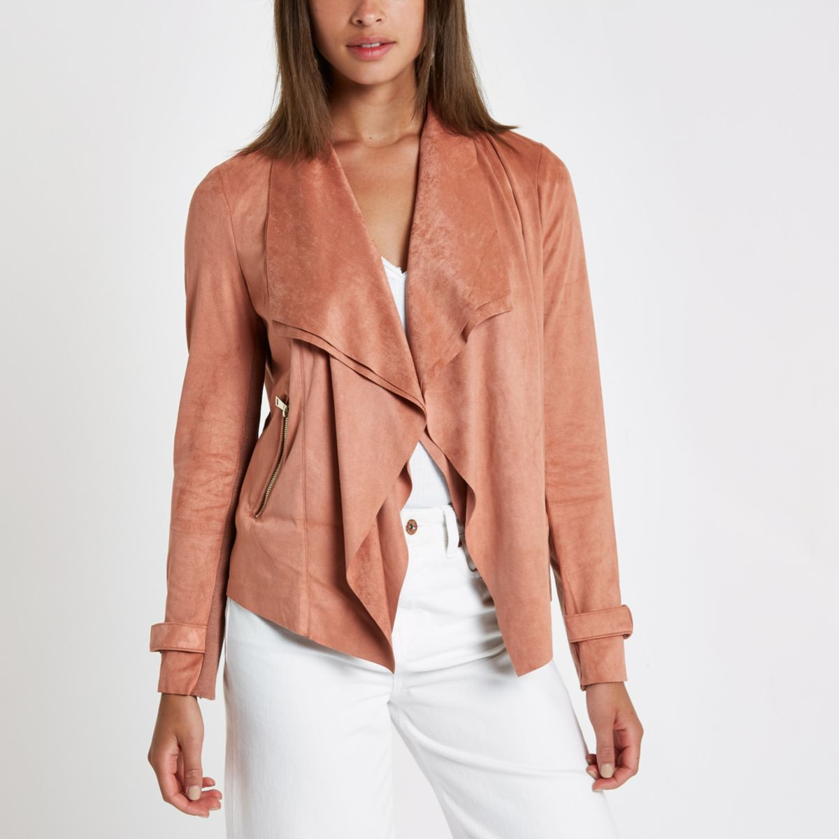 Dark beige fallaway faux suede jacket