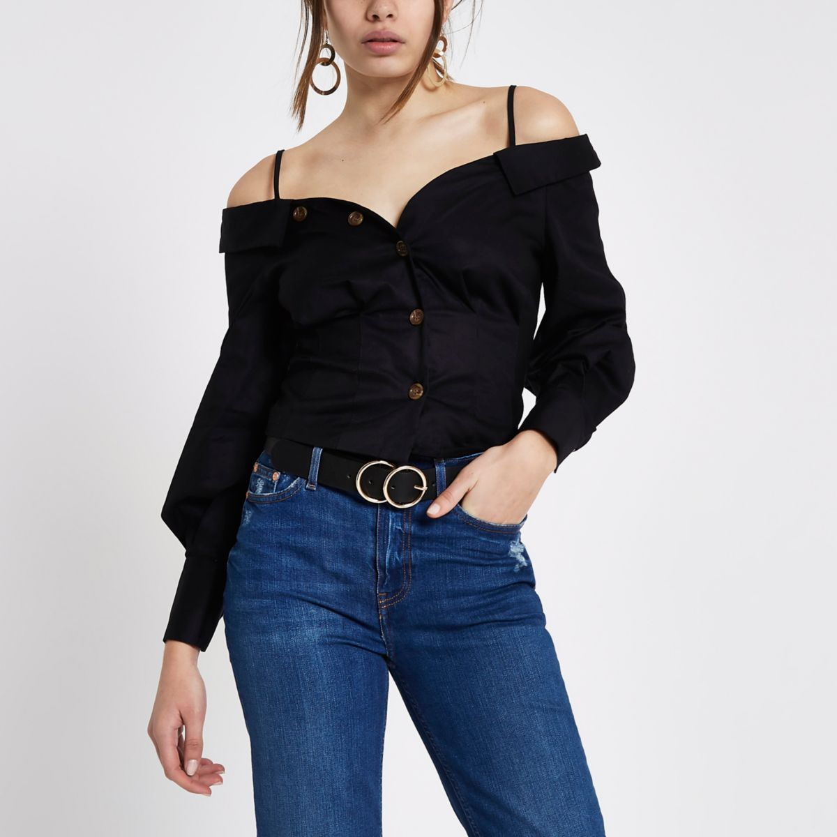Black deconstructed collar bardot shirt
