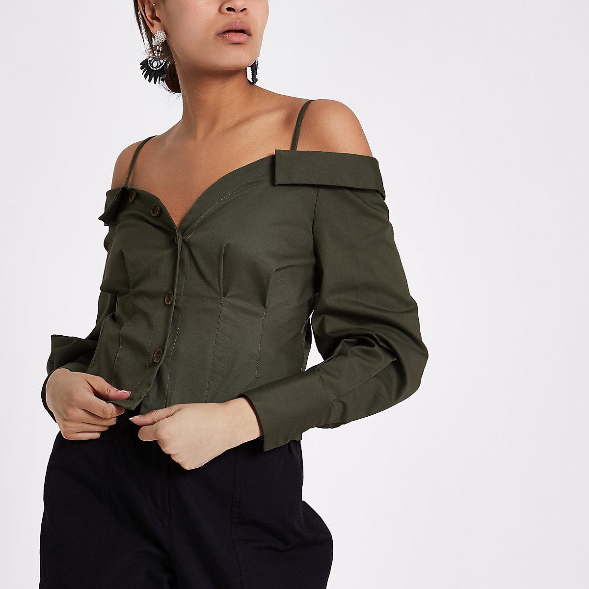 Khaki green cold shoulder deconstructed shirt