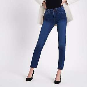Dark blue Casey raw hem slim fit jeans