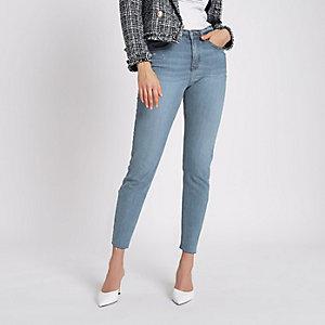 Casey – Mittelblaue Slim Fit Jeans mit offenem Saum