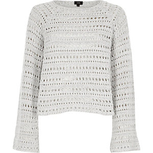 Light grey open knit wide sleeve jumper