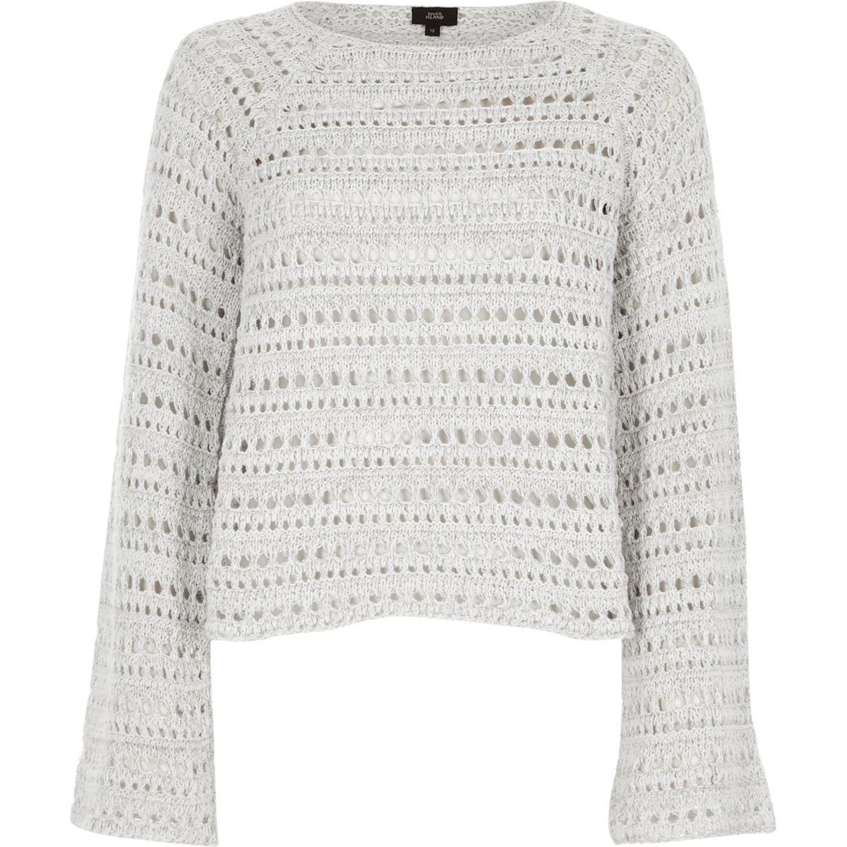 Light grey open knit wide sleeve jumper