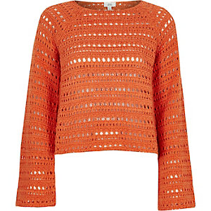 Orange open knit wide sleeve sweater
