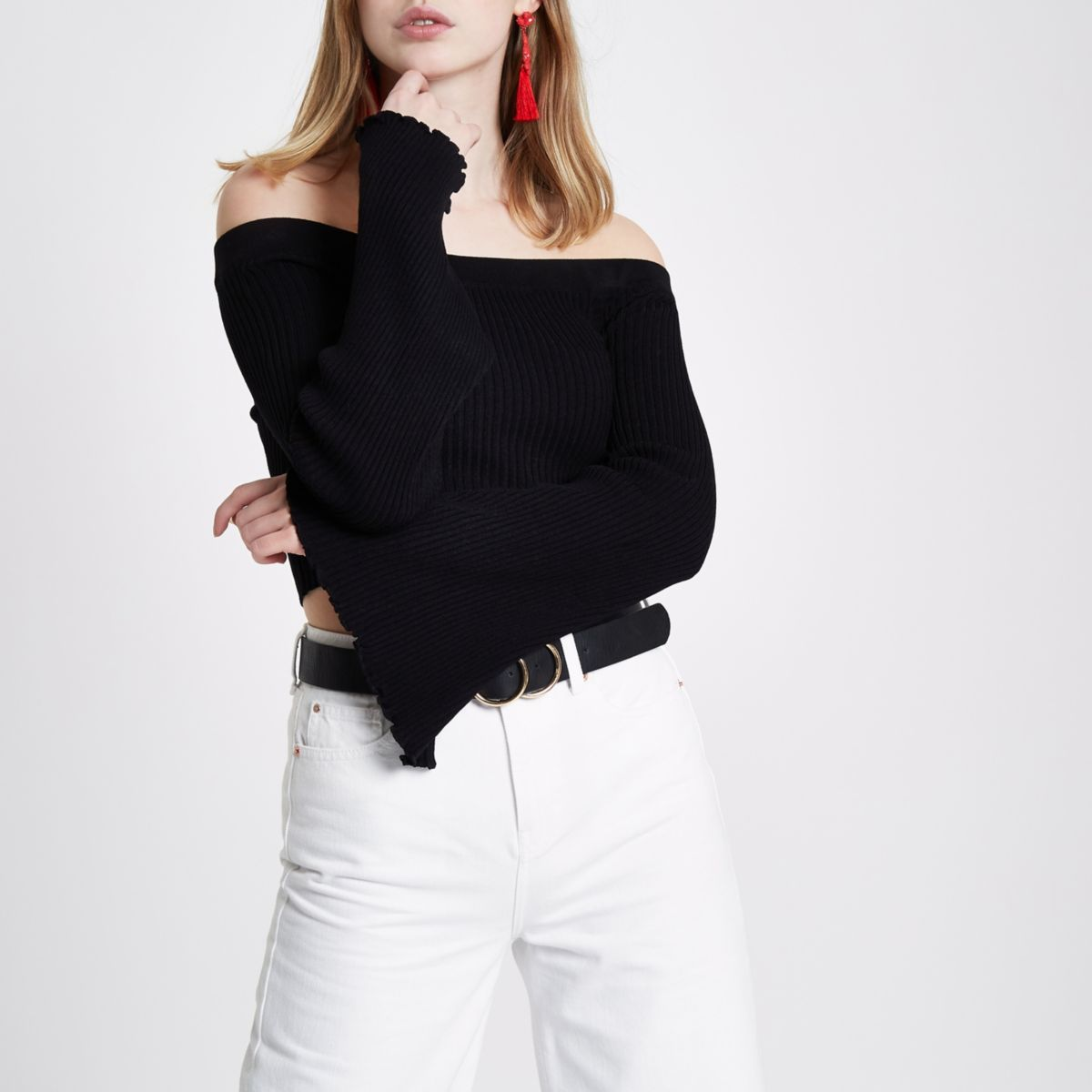 Black rib knit bardot bell sleeve crop top