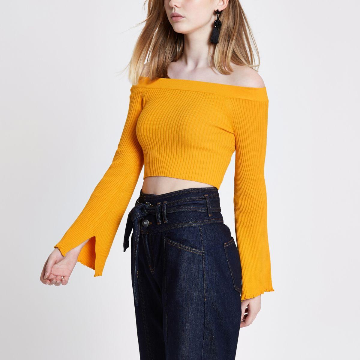 Yellow rib knit bardot bell sleeve crop top