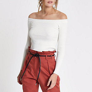 White rib knit lace-up back bardot top