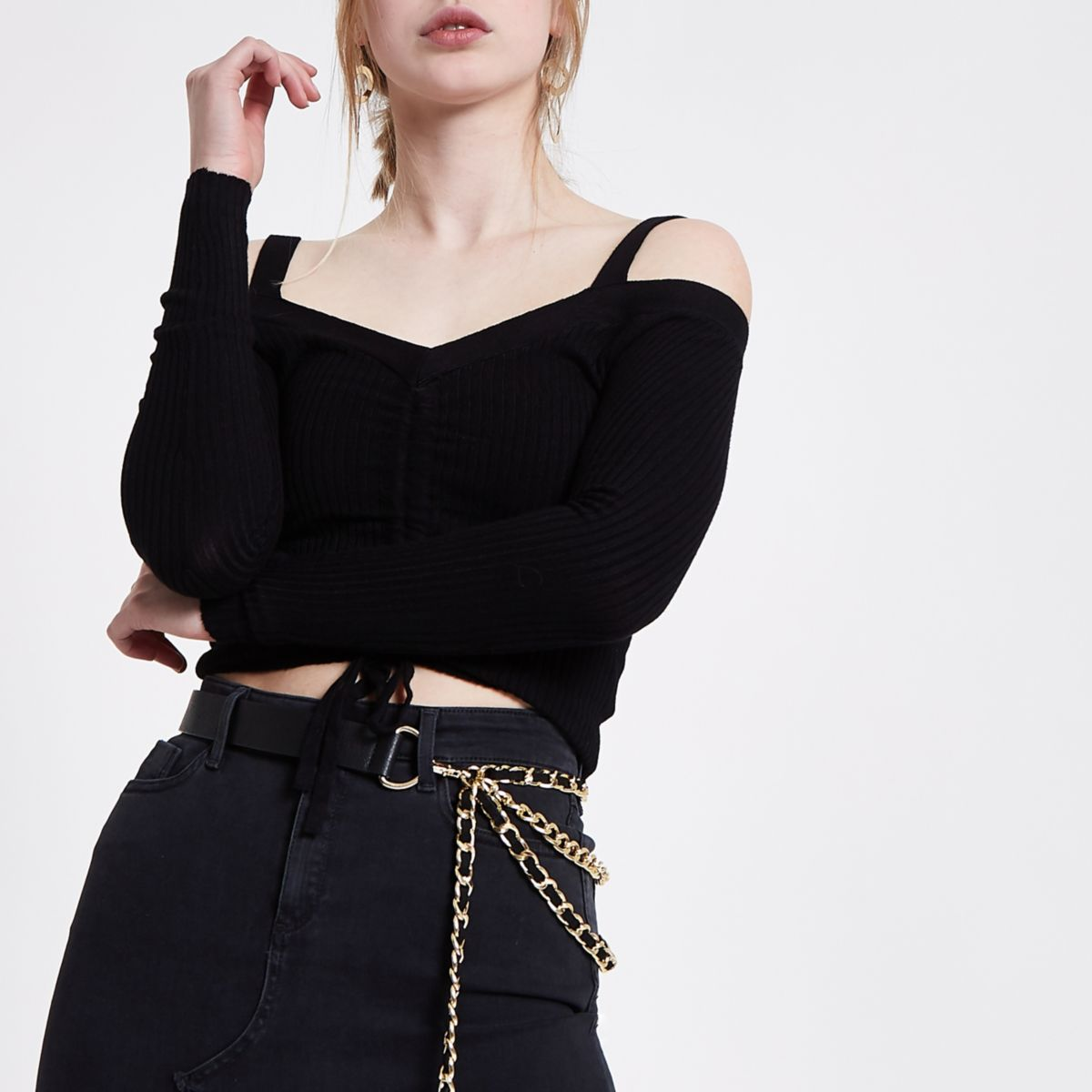 Black ruched front fitted bardot knit top