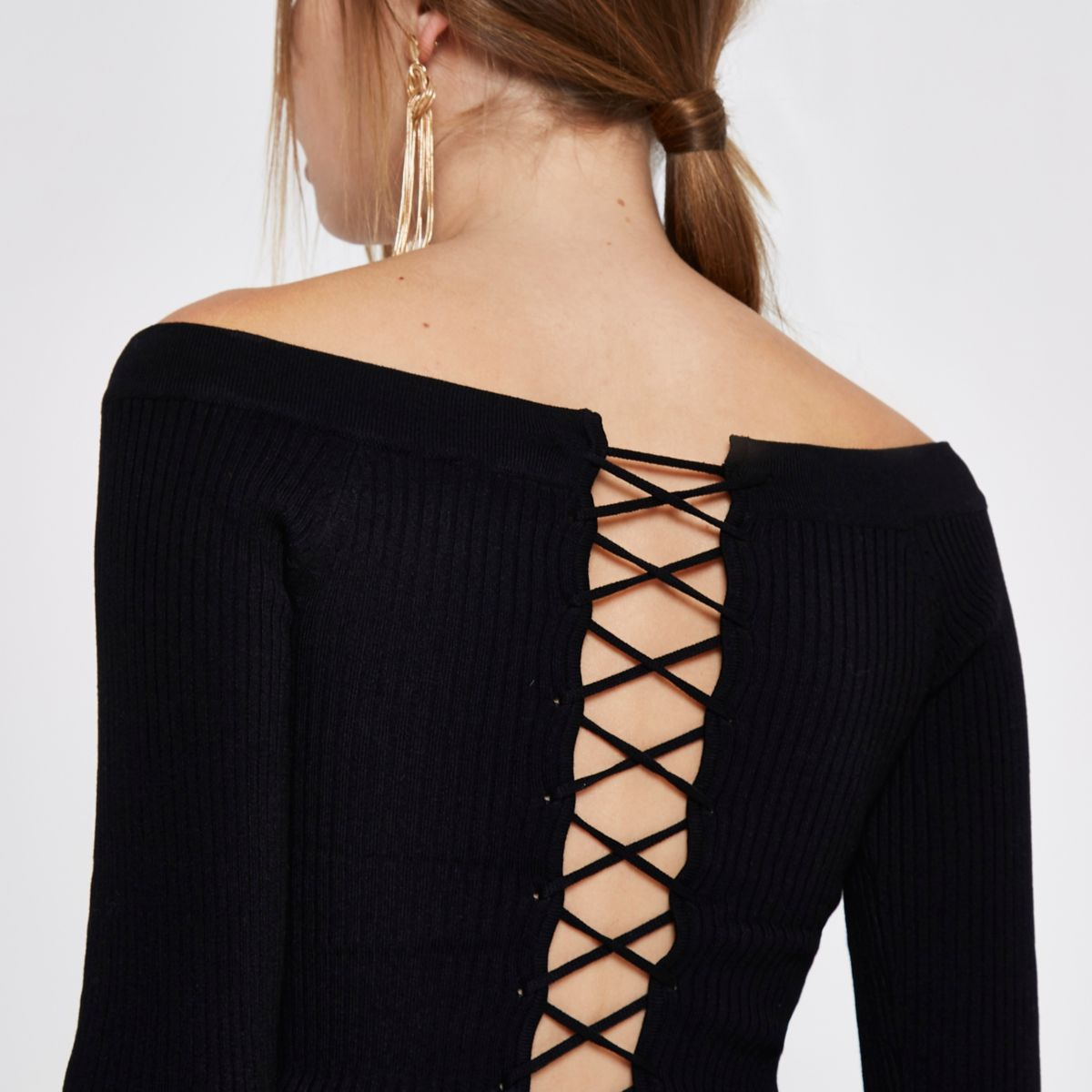 Black bardot lace-up back rib knit top