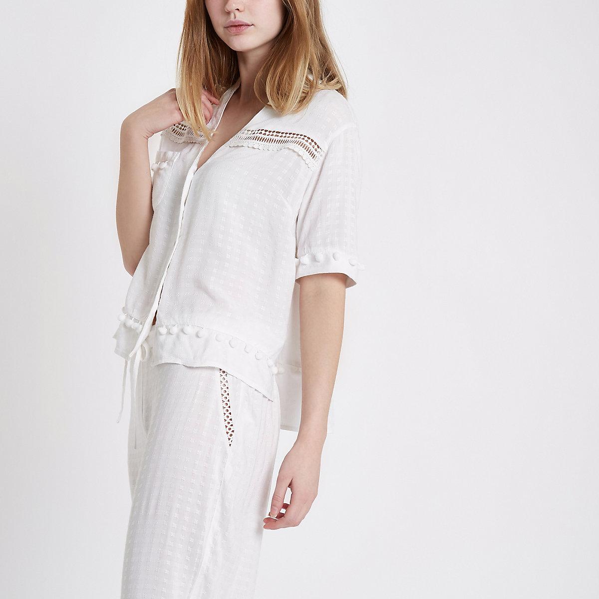 White pom pom short sleeve pajama shirt