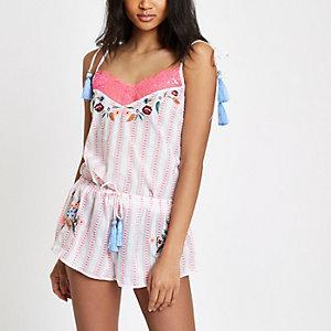 Short de pyjama rayé rose à fleurs brodées