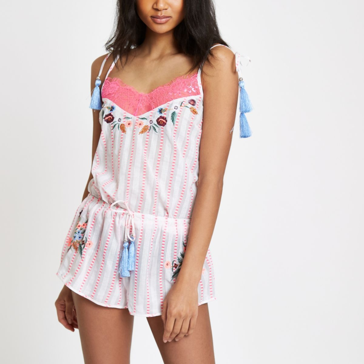 Pink stripe floral embroidered pajama shorts