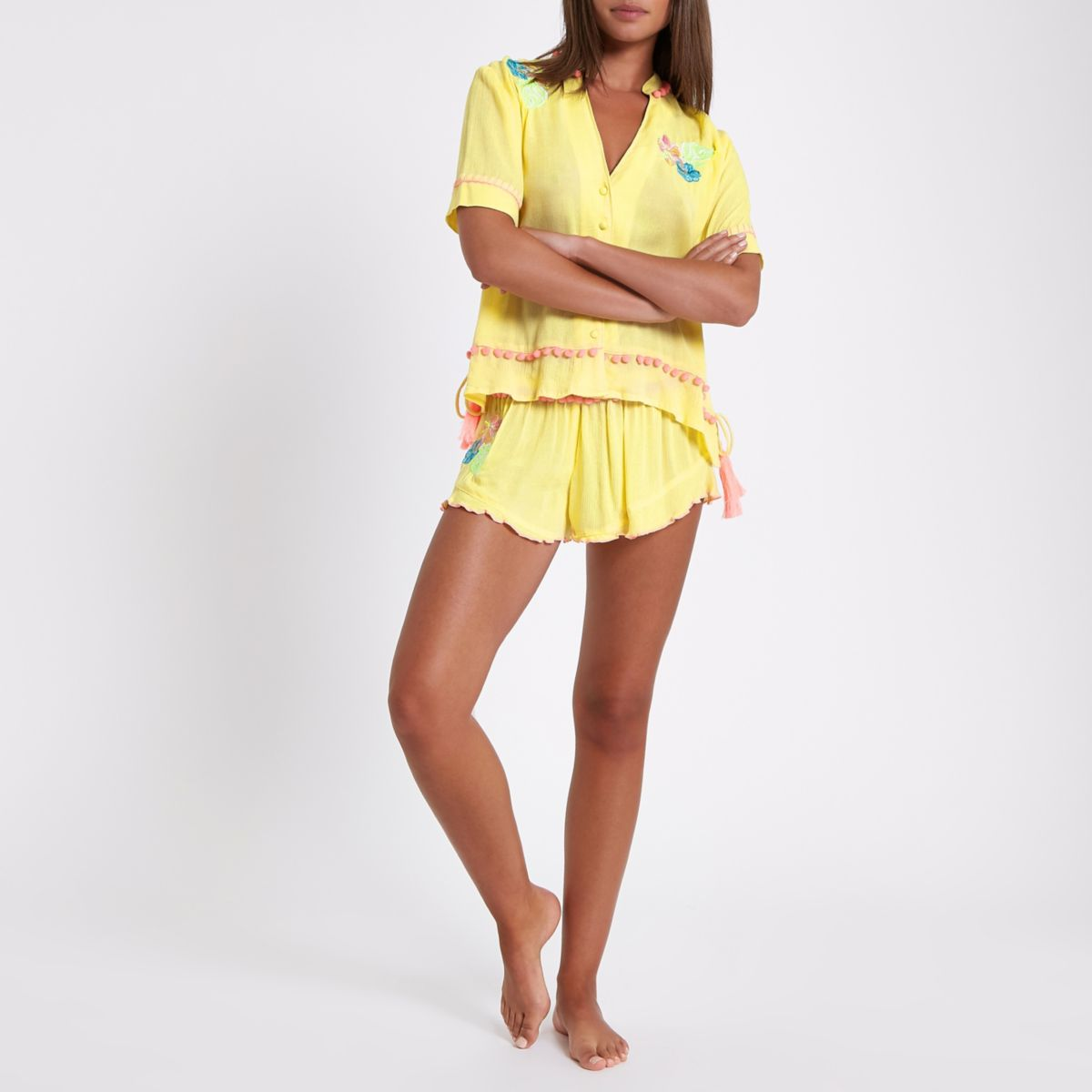 Yellow embroidered pajama shorts