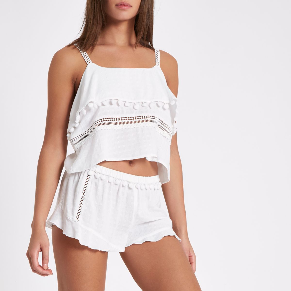 White frill hem pom pom pajama shorts
