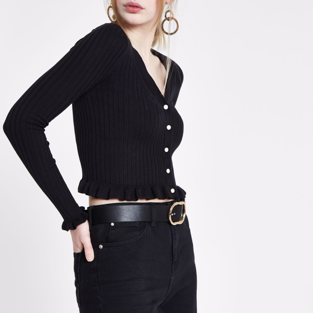 Black rib knit frill hem cropped cardigan