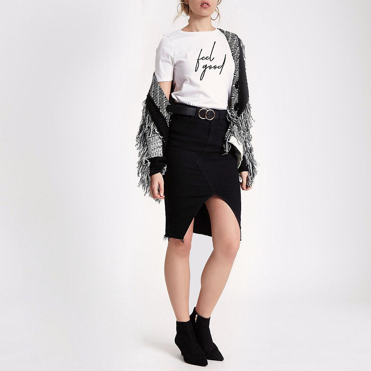 Black split front denim pencil skirt