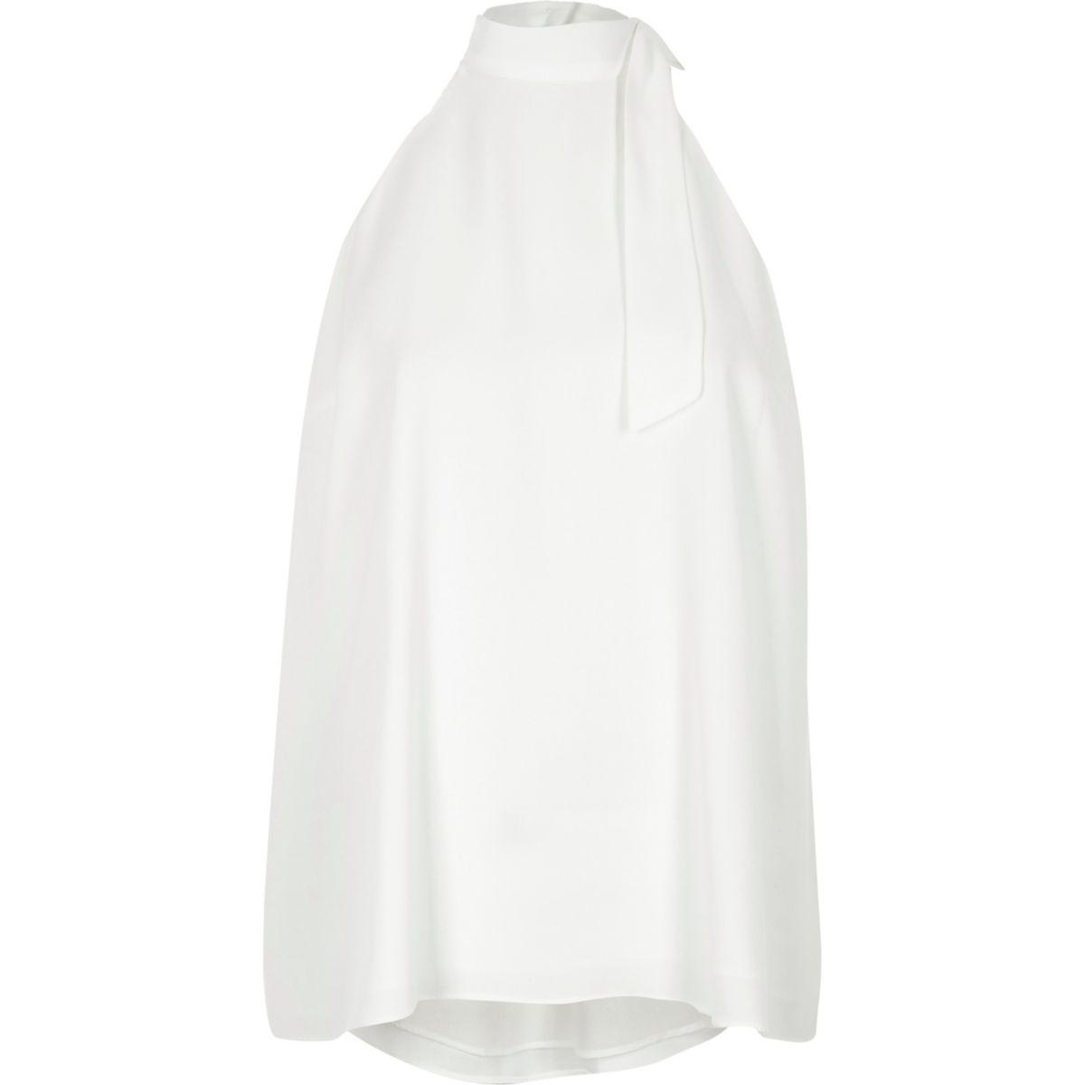 White high tie neck cross back sleeveless top