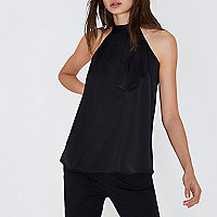 Black high neck strappy back sleeveless top