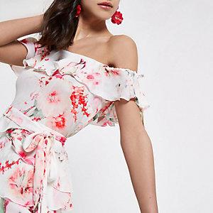Cream short sleeve floral frill bardot top