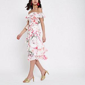 Cream frill floral print midi skirt