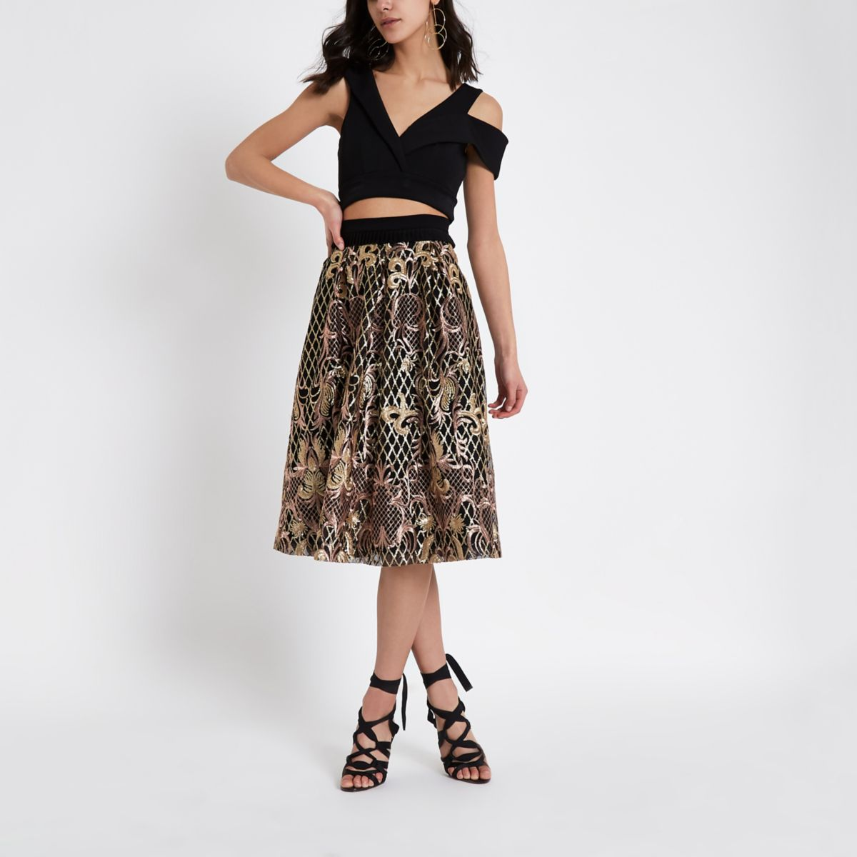 Black sequin embroidered midi skater skirt