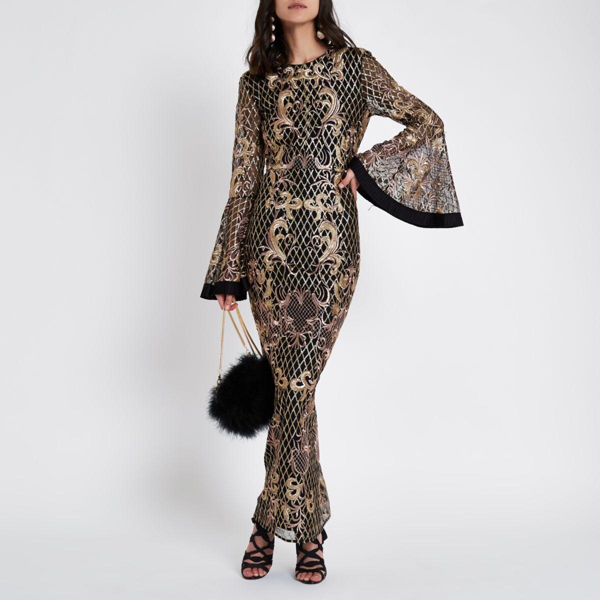 Black sequin embellished mesh maxi dress